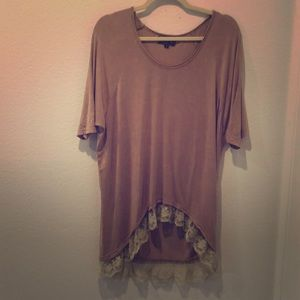 Mauve pink POL tunic with vintage style lace